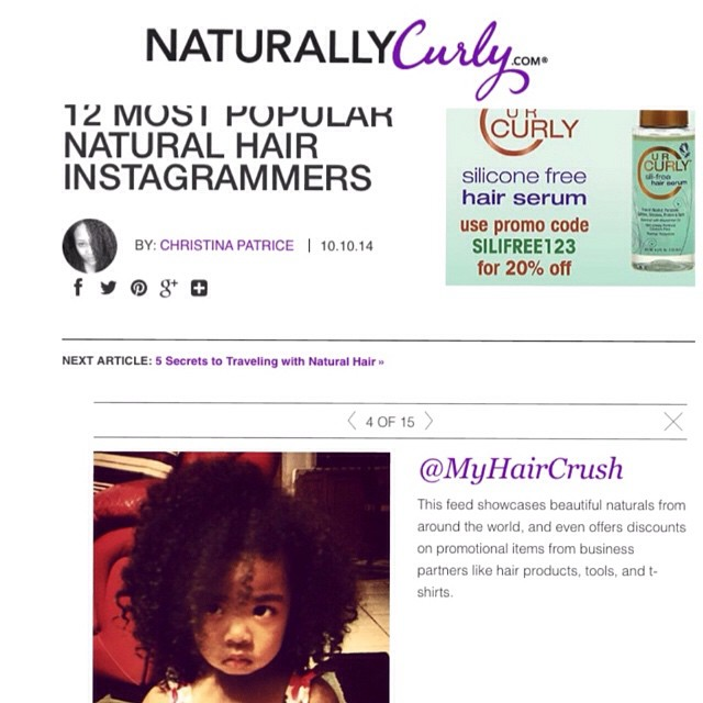 MyHairCrush is one of Naturally Curly's most Popular Natural Hair Instagrammers